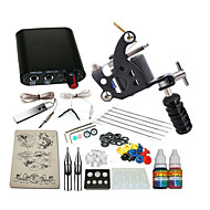 1 steel machine liner & shader Mini power supply 5 x tattoo needle RL 3 1PCS 1 x aluminum grip 2 10ml starter tattoo kits