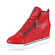 Dames Sneakers Comfortabel PU Buiten Sport Sleehak Rits Veters Zwart Rood Wit Wandelen