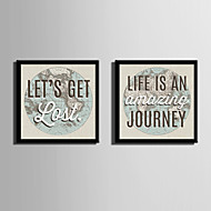 Slova & Citáty Kanvas v rámu / Set v rámu Wall Art,PVC Materiál Černá Včetně pasparty s rámem For Home dekorace rám Art
