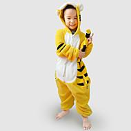 Kigurumi Pyjama  Tiger Gympak/Onesie Festival/Feestdagen Animal Nachtkleding Halloween Zwart / Geel Patchwork Flanel Kigurumi Voor Kind