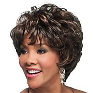 curto bob completo estrondo perucas sintéticas Curly por mulheres calor marrom cabelo barato resistente escuro