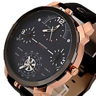 Men's Sport Watch Military Watch Dress Watch Fashion Watch Wrist watch Three Time Zones Punk Quartz Leather BandVintage Cool Casual
