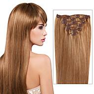 Klip na 100% skutečných lidských prodlužování vlasů hedvábnou rovné plné hlavy 7 ks a 8 ks mnoho barvy pro vašeho výběru