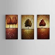 Ručně malované Abstraktní / Krajina olejomalby,Moderní / Pastýřský Tři panely Plátno Hang-malované olejomalba For Home dekorace