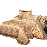 Pussilakanasetti setit Kukka-aihe 4 osainen Silk/Cotton Blend Jakardi Silk/Cotton Blend 4kpl (1 päiväpeite, 1 lakana, 2 tyynyliinaa)