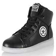 Unissex-Tênis-Sapatos de Berço / Tira no Tornozelo / Conforto-Rasteiro-Preto / Branco-Couro Ecológico-Para Esporte / Casual
