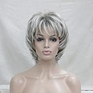 nuova bionda con off mix nero radice biondi di media lunghezza in cascata strati sintetica parrucca piena delle donne capelli