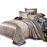 Blumen Bettbezug-Sets 4 Stück Baumwolle / Seide/Baumwolle Luxuriös Jacquard Baumwolle / Seide/Baumwolle ca. 1,50 m breites Doppelbett