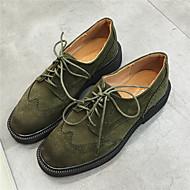 נשים-נעלי אוקספורד-סוויד-נוחות-שחור / חום / ירוק-קז'ואל-פלטפורמה