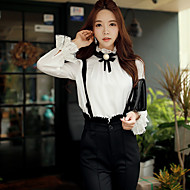 Women's Going out / Casual/Daily / Party/Cocktail Vintage / Cute / Sophisticated Spring / Fall ShirtSolid Stand Long Sleeve White Blouse