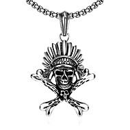 Herre Halskædevedhæng Dødningehoved Rustfrit Stål Unikt design Hængende Punk Stil Personaliseret Hip-hop Klippe Euro-Amerikansk Sølv