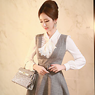 Women's Going out / Formal / Work Simple / Cute / Sophisticated Spring / Fall ShirtSolid Asymmetrical Long Sleeve White Medium