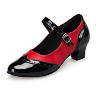 Moguće personalizirati-Ženske-Plesne cipele-Latino / Jazz / Plesne tenisice / Moderni-Umjetna koža-Kockasta potpetica-Crvena / Bijela
