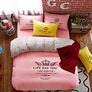 Bedtoppings 4pcs Set Queen 1 Comforter Duvet Quilt Cover/1 Flat Sheet/1 Pillowcase Solid Color With Prints Poly Microfiber