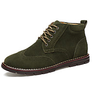 Men's Boots Spring Fall Winter Comfort Leatherette Outdoor Casual Athletic Flat Heel Blue Brown Green