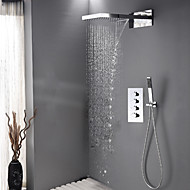 Contemporary Bathroom Rain And Waterfall Shower Faucet / Wall Mounted Bath Shower Head / Brass Chrome Hand Shower