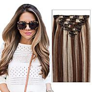(7pcs / set&8pcs / set) cabeça cheia definir clipe virgem brasileira em extensões de cabelo humano 70 g - 120 g de cores múltiplas