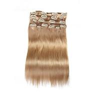 9pcs / להגדיר קליפ 120g דלוקס תוספות שיער בלונדיני בז 20inch 16inch 100% ישר שיער אדם לנשים