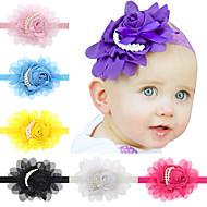 13pcs / bébés filles fixés en mousseline de soie perle fleur bandeau todder accessoires cheveux enfant hairband