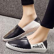 Damen-Loafers & Slip-Ons-Lässig-Leder-Flacher Absatz-Komfort-Schwarz / Weiß