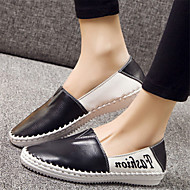 Dame-Lær-Flat hæl-Komfort-一脚蹬鞋、懒人鞋-Fritid-Svart / Hvit