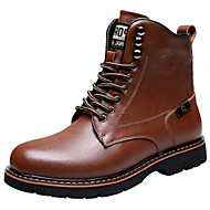 Men's Boots Spring / Fall / Winter Others Leatherette Outdoor / Office & Career / Casual Flat Heel Lace-up Black / Brown Boot