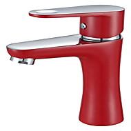 現代風 組み合わせ式 タッチ/タッチレス with  セラミックバルブ シングルハンドルつの穴 for  ペインティング , バスルームのシンクの蛇口