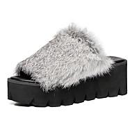 Feminino-Chinelos e flip-flops-Creepers-Plataforma-Preto / Cinza-Couro de Porco-Casual