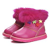 Girl's Boots Winter Platform Cowhide Outdoor Dress Casual Party & Evening Flat Heel Rhinestone Zipper Peach Light Green Other