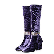 Women's Boots Winter Other Velvet Office & Career Casual Party & Evening Chunky Heel Zipper Tassel Black Blue Purple