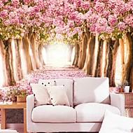 Suvremeni 3d sjajnom kožom efekt veliki mural pozadina topla roza cvijeće i drveće umjetnost zid dekor