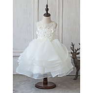 Princess Knee-length Flower Girl Dress - Organza Satin Tulle Jewel with Appliques Beading Bow(s) Flower(s) Lace