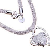 Naisten Riipus-kaulakorut Heart Shape Sterling-hopea Love Heart Morsius Hopea Korut VartenHäät Party Syntymäpäivä Päivittäin