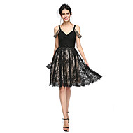 TS Couture Fiesta de Cóctel Baile de Promoción Vestido - Vestiditos Negros Corte en A Tirantes Hasta la Rodilla Raso Encaje conCuentas En