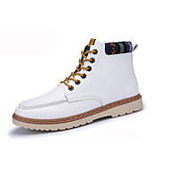 Men's Boots Spring Fall Comfort PU Casual Flat Heel Lace-up Black Blue Red White Walking