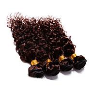 """4pcs lot 300g 12 """"-30"""" boucles d'oreilles brésiliennes profondes bouclées aux cheveux bruns"""
