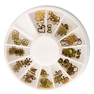 60PCS Golden Soft Metal Nail Art Dekorace soupravy
