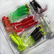 21 pcs Grub Fishing Lures Soft Bait Random Colors Soft Plastic Sea Fishing