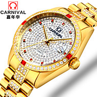 AngelaBOS Men's Mechanical Watch Hollow Engraving Rhinestone Automatic self-winding Stainless Steel Band Sparkle Cool White Gold