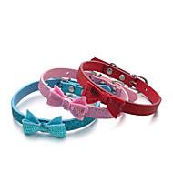 Chat Chien Colliers Ajustable/Réglable Paillettes Solide Rouge Bleu Incanardin Cuir PU