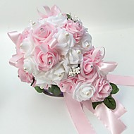 """פרחי חתונה בצורה חופשיה ורדים זרים חתונה חתונה/ אירוע סאטן קצף 9.84""""(לערך.25ס""""מ)"""
