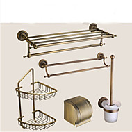 Bathroom Accessory Set / Antique Brass Towel Bar Antique Brass Wall Mounted 625 x 90x125mm (24.6 x 3.54 x 4.92) Brass / Ceramic / Crystal Antique