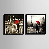 Άνθρωποι / Αρχιτεκτονική Καμβάς σε Κορνίζα / Σετ σε Κορνίζα Wall Art,PVC Μαύρο Χωρίς Χάρτινο Φόντο με Πλαίσιο Wall Art