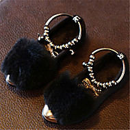 Girl's Flats Fall Winter Moccasin Fur Casual Flat Heel Others Black Red Gray Others