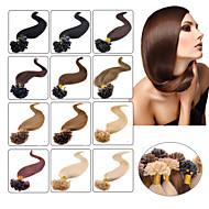 """100szt 16-24 """"brazylijski dziewiczy włosy u wskazówka fuzji włosy rozszerzenie końcówki paznokci przedłużanie włosów keratynę fuzyjnych"""