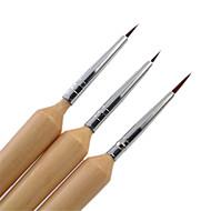 3 stk / sett tre håndtert neglebørste for akryl spiker kunst maleri børster liner penn spiker verktøy