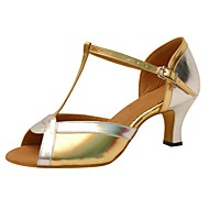 Customizable Women's Dance Shoes Patent Leather Patent Leather Latin Sandals Flared Heel Practice Beginner Gold