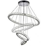 LED Crystal Pendant Lights Ceiling Lighting Clear Crystal Round 4 Rings 20CM 40CM 60CM 80CM LED Source Fixtures