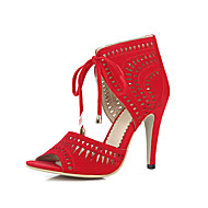 Women's Sandals Spring Summer Fall D'Orsay & Two-Piece Microfibre Casual Stiletto Heel Lace-up Hollow-out Black Blue Red