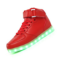 Dame-Lær-Flat hæl-Komfort Light Up Sko-Støvler-Fritid-Rød